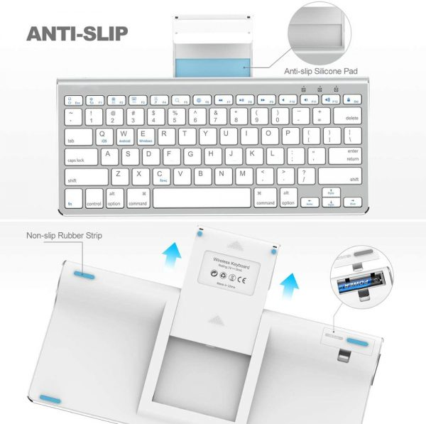 Wireless Bluetooth Keyboard with Sliding Stand